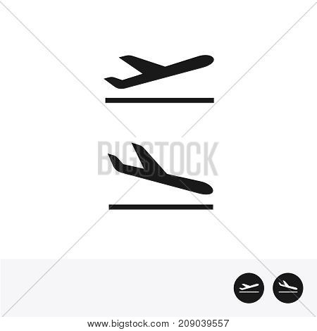 Arrivals and departure plane icons. Simple black take off and landing airplane signs.