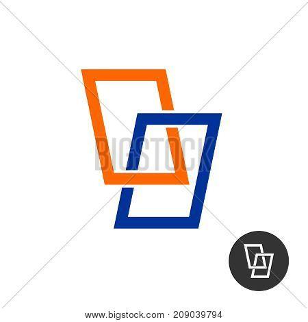 Windows stylized logo. Two window frames intersection tech industrial sign.