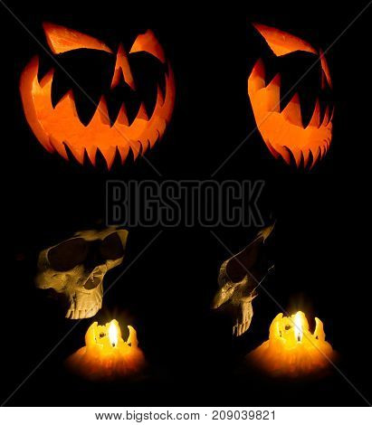 Halloween Pumpkin Face Ghost And Human Skull Glowing In The Dark.