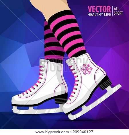 Pair of white Ice skates. Figure skating. Women's ice skates. Winter sports. Vector illustration background. Banner