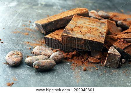 Raw cocoa beans cocoa powder and chocolate pieces.