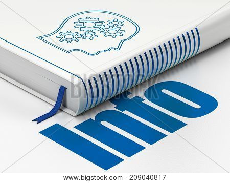 Information concept: closed book with Blue Head With Gears icon and text Info on floor, white background, 3D rendering