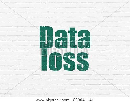 Information concept: Painted green text Data Loss on White Brick wall background
