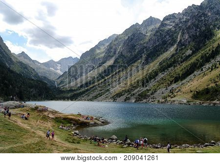 a view of lac of Gaube in the Pyrenees mountains
