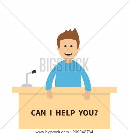 Can I help you. Men male people consultant. Table Information desk counter microphone. Reception service. Info support. Cute cartoon character. Flat design White background Vector illustration