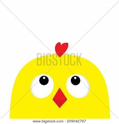 Chicken head face big eyes red beak looking up. Happy Easter sign symbol. Cute cartoon character. Baby collection. Flat design. White background. Isolated. Vector illustration