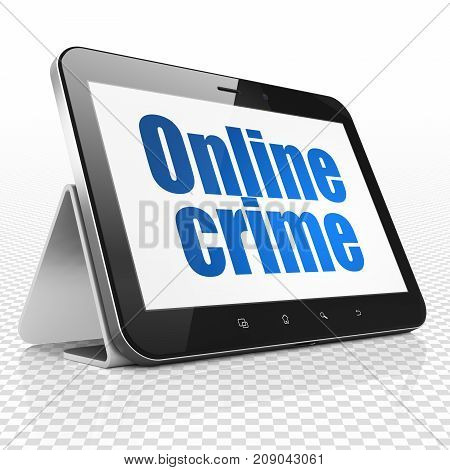 Security concept: Tablet Computer with blue text Online Crime on display, 3D rendering
