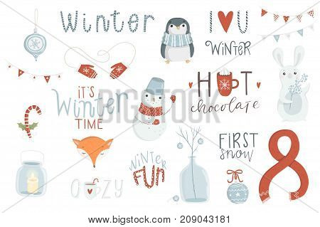 Winter set, hand drawn style - lettering, animals and other elements. Vector Eps10 illustration.