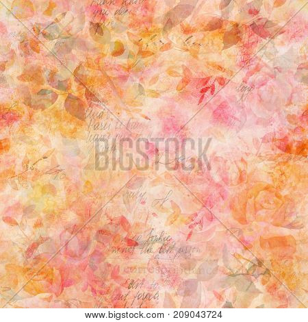 Toned seamless pattern with faded watercolor drawings of rose flowers and butterflies, leaves and branches, hand painted in the style of vintage botanical art, with faded old texts and scraps of paper