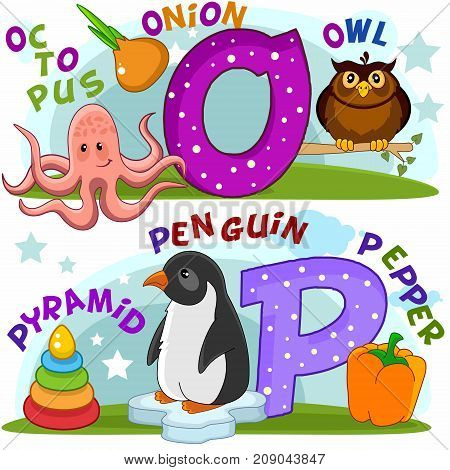 Colored cartoon English alphabet with O and P letters for children, with pictures to these letters with an octopus, an onion, an owl, a pyramid, a penguin and pepper.