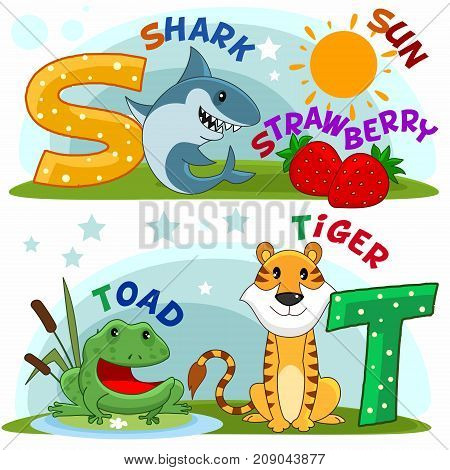 Colored cartoon English alphabet with S and T letters for children, with pictures of these letters with a shark, strawberry, sun, frog, toad and a tiger.
