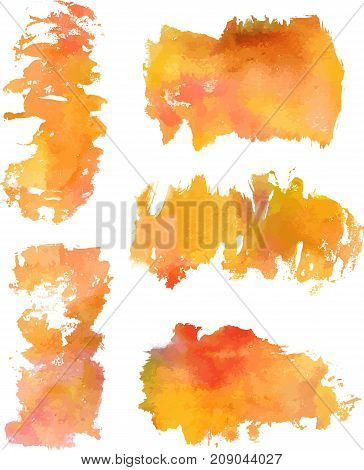 A set of golden toned watercolor stains on white background, artistic textures for design, scalable vector graphic