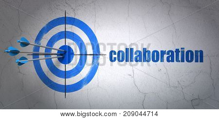 Success finance concept: arrows hitting the center of target, Blue Collaboration on wall background, 3D rendering