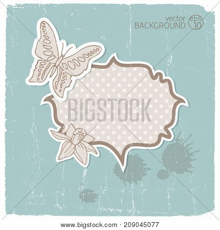 Romantic vintage background or invitation with patterned space for text on blue fond vector illustration