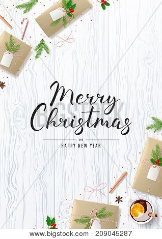 Merry Christmas Poster with Festive Decoration. Beautiful Greeting Card with Lettering. Top View on Composition with Paper Gift Boxes for Happy New Year. Vector Illustration.