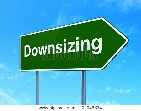 Finance concept: Downsizing on green road highway sign, clear blue sky background, 3D rendering