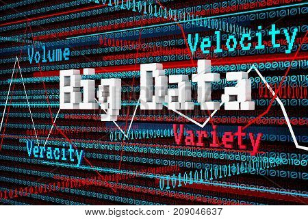 Abstract 3d Render Big Data Volume Velocity Variety Veracity and Chart over Binary Digit Traffic as Big Data Management Concept. Image Colors are base on Blue White and Red.