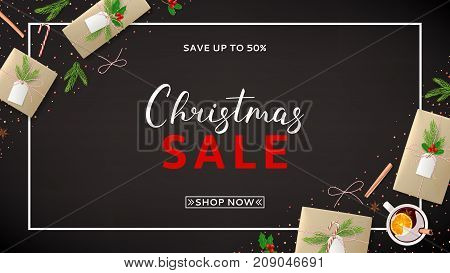 Christmas Sale Web Banner with Festive Decoration. Beautiful Greeting Card with Lettering. Top View on Composition with Paper Gift Boxes for Happy New Year. Vector Illustration with Discount Offer.