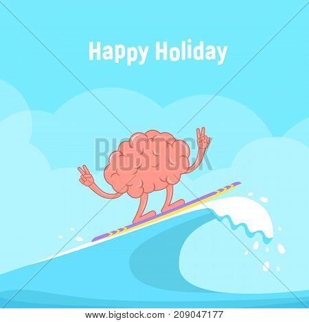 Surfing. Cartoon Brain on surfboard rides on the wave. Concept design of rest, summer holidays and sport lifestyle. Vector illustration in flat style.