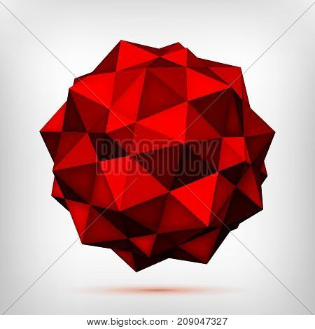 Volume polyhedron red star, low poly 3d object, geometry shape, mesh version, origami crystal, abstract vector element
