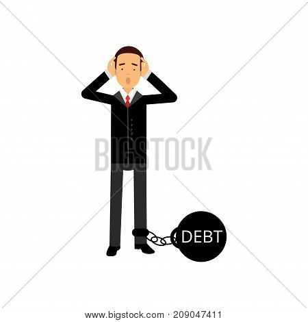 Sad businessman character with a big debt weight, business and financial failure, economic crisis vector Illustration isolated on a white background