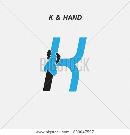 K - Letter abstract icon & hands logo design vector template.Italic style.Business offer or partnership symbol.Hope or help concept. Support and  teamwork sign.Corporate business & education logotype symbol.Vector illustration
