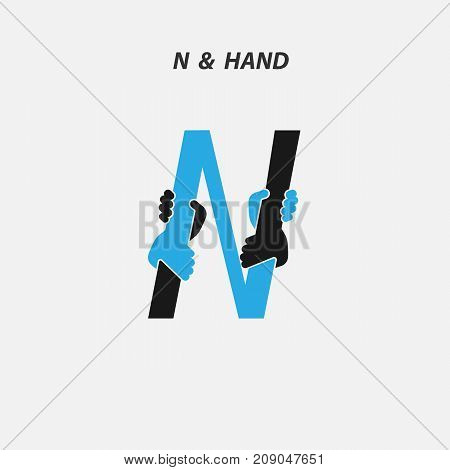 N - Letter abstract icon & hands logo design vector template.Italic style.Business offer or partnership symbol.Hope or help concept. Support and  teamwork sign.Corporate business & education logotype symbol.Vector illustration