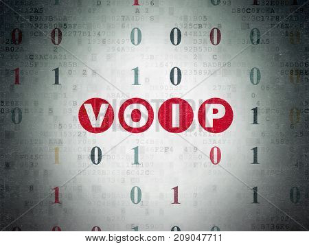 Web development concept: Painted red text VOIP on Digital Data Paper background with Binary Code