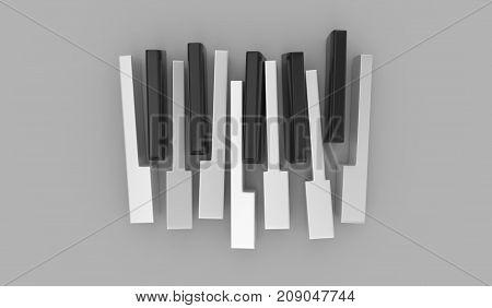 Piano Keys Isolated On The Gray