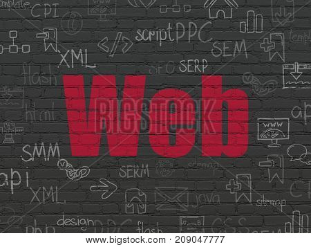 Web development concept: Painted red text Web on Black Brick wall background with  Hand Drawn Site Development Icons