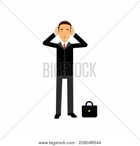 Frustrated businessman character holding his head in hands vector Illustration isolated on a white background