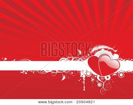 Valentines Day abstract floral background with hearts, vector illustration