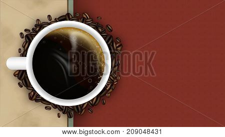 Coffee Background With Cup, Steam And Coffee Beans. Vector Design.