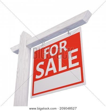 For sale sign isolated on white - 3d illustration