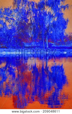 Reflection Of Tree On Water