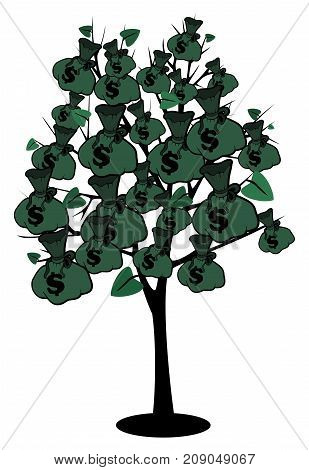 Stock image money tree with bags of dollars