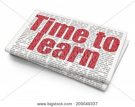 Time concept: Pixelated red text Time to Learn on Newspaper background, 3D rendering