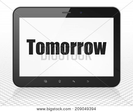 Time concept: Tablet Pc Computer with black text Tomorrow on display, 3D rendering