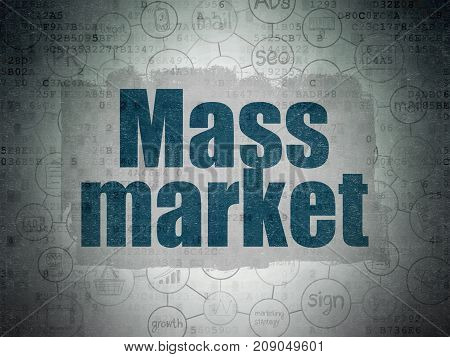 Marketing concept: Painted blue text Mass Market on Digital Data Paper background with  Scheme Of Hand Drawn Marketing Icons