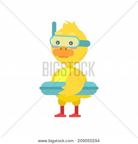 Funny little yellow duckling with lifebuoy and dive mask cartoon character vector illustration isolated on a white background