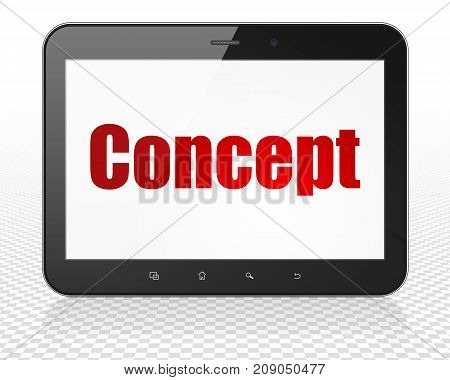 Advertising concept: Tablet Pc Computer with red text Concept on display, 3D rendering
