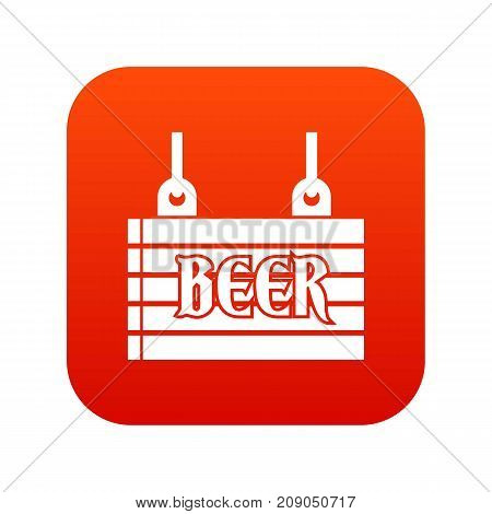 Street signboard of beer icon digital red for any design isolated on white vector illustration