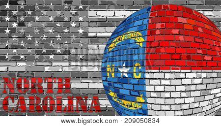 North Carolina flag on the grey USA flag background - Illustration,  Ball with North Carolina flag