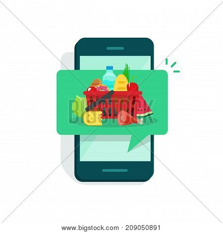 Food on mobile phone screen vector illustration, flat cartoon grocery food inside notification of smartphone, concept of cellphone food delivery, online delivery app modern design isolated on white