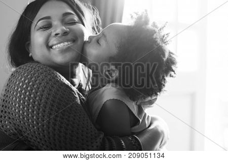 African mother and daughter having a good time together