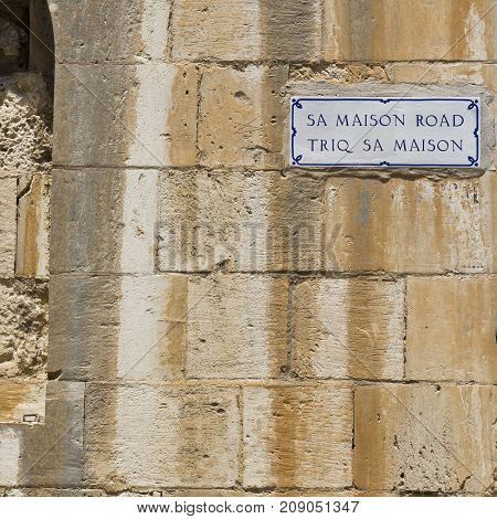Street sign in the city of Mdina that was founded as Maleth in around the 8th century BC by Phoenician settlers on the island of Malta.