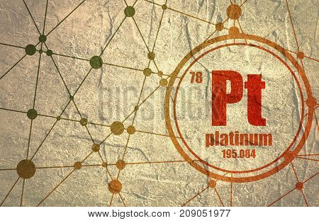 Platinum chemical element. Sign with atomic number and atomic weight. Chemical element of periodic table. Molecule And Communication Background. Connected lines with dots. Distress grunge texture
