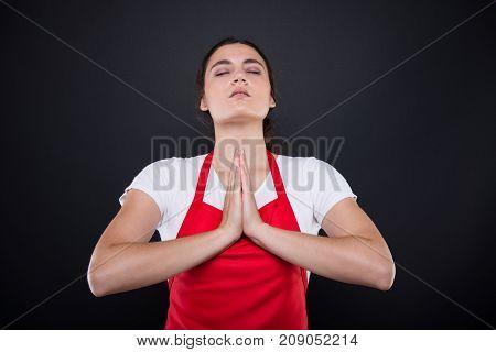 Beautiful Girl Seller Praying Or Meditating