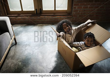 Siblings enjoying themselves