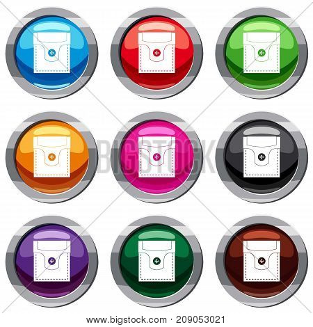 Valve pocket with button set icon isolated on white. 9 icon collection vector illustration